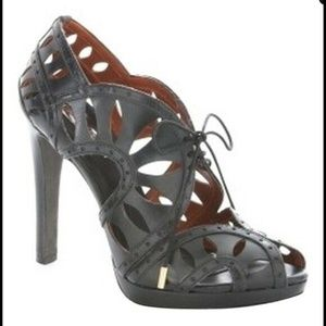 BCBG Maxazria Black Leather Cut Out Peep Toe Heel